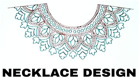 how to draw boat neckline necklace design drawing for salwaar kameez and suit neck