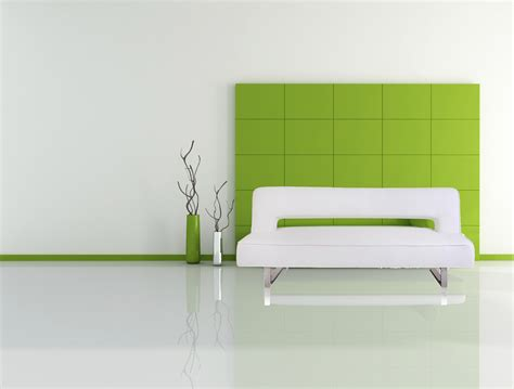 minimalist furniture fine looking green gloss wall panels combined with white