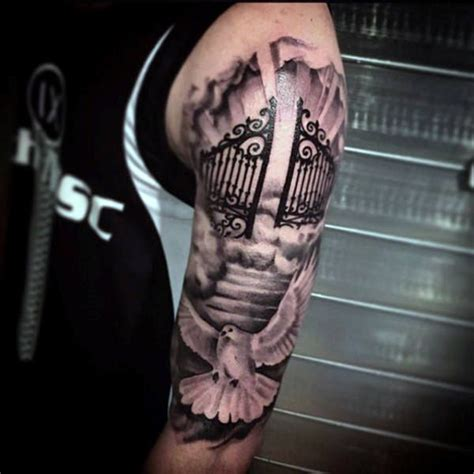 gates of heaven tattoo black ink shaded heaven gates half sleeve for