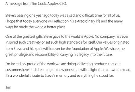 last homage to a s letters to his in sunset years books apple and tim cook pay tribute to steve on the