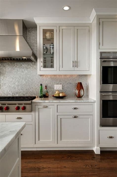 white kitchen shaker cabinets white and silver kitchen backsplash design ideas