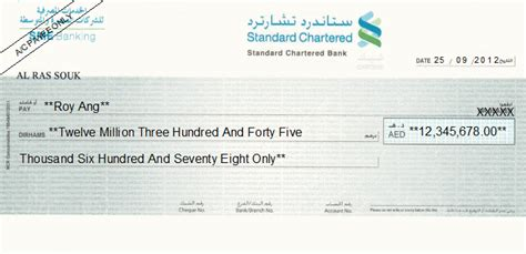 standard chartered bank uae cheque writing printing software for united arab emirates