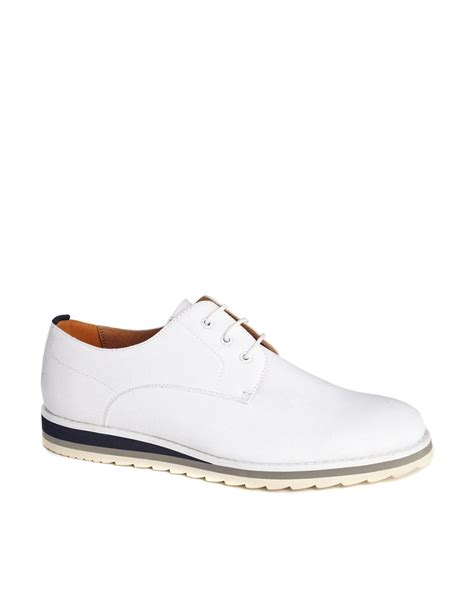 asos derby shoes in canvas in white for lyst