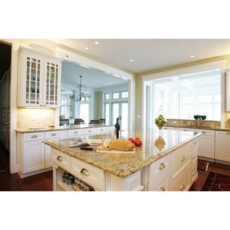 white cabinets with new venetian gold granite and