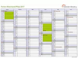 Kalender 2018 Pdf Rlp Ferien Rheinland Pfalz 2017 Ferienkalender Zum Ausdrucken