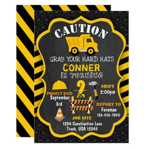 Construction Themed Birthday Card Template by Construction Birthday Invitation Dump Truck Zazzle