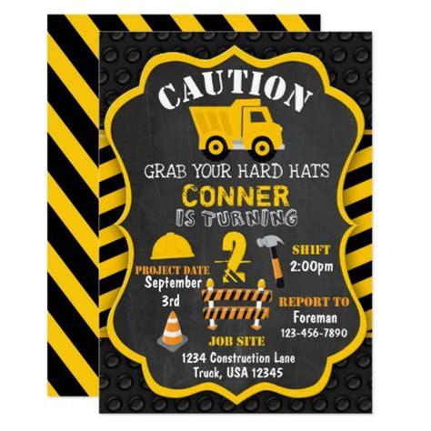 construction themed birthday card template construction birthday invitation dump truck zazzle