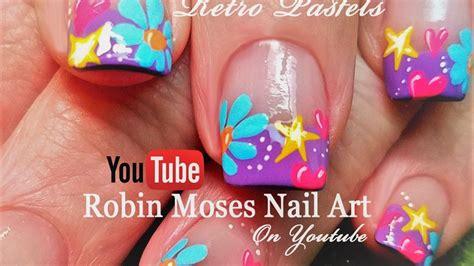 tulip flower nail art youtube spring flower nails easy diy daisy heart and stars nail