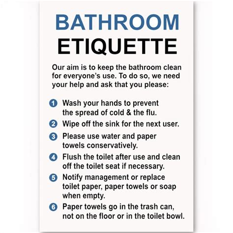 bathroom etiquette sign bathroom etiquette sign custom signs