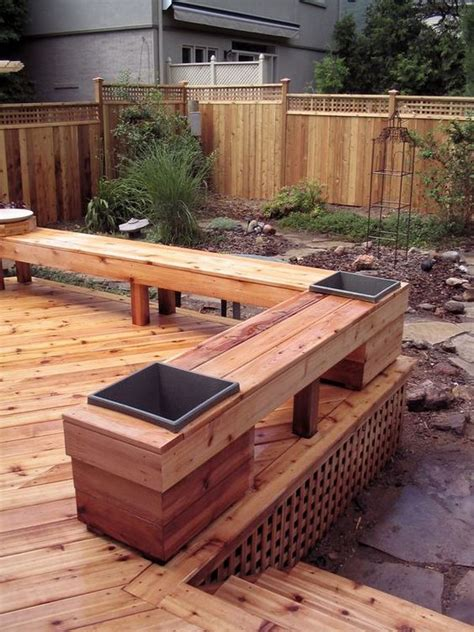 built in benches on decks cedar deck built ins and planters on pinterest