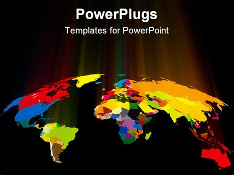 powerpoint template world world map abstract background with colored light