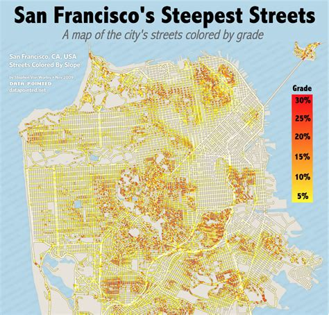 san francisco map data the steepest streets in san francisco
