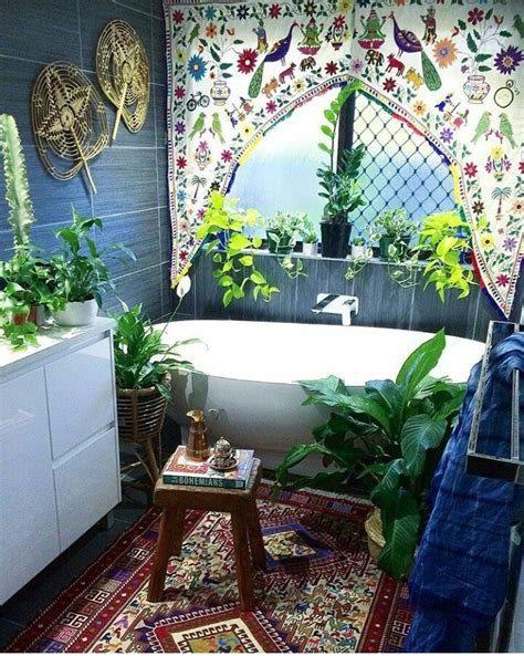 hippie bathroom open air colourful greenery infused bathroom so lovely