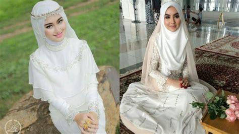 Baju Akad Nikah Berwarna 14 inspirasi gaun pengantin syar i berwarna putih til cantik dengan jilbab lebar kenapa tidak