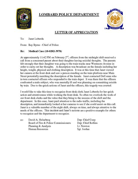 appreciation letter to department appreciation letter to officer 28 images general