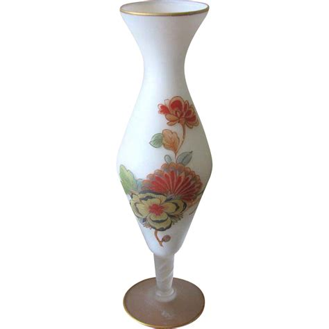Norleans Vase by Vintage Norleans White Satin Glass Floral Bud Vase From