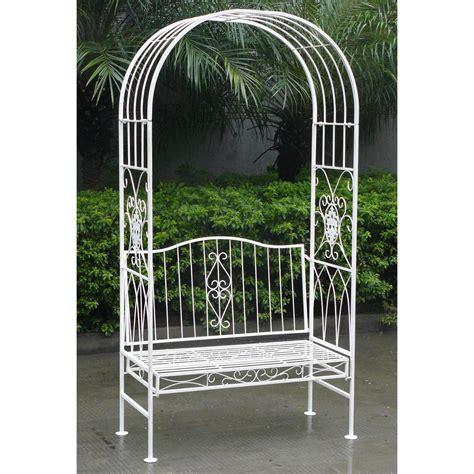 arch bench metal garden bench with arch pergolas bench garden plant
