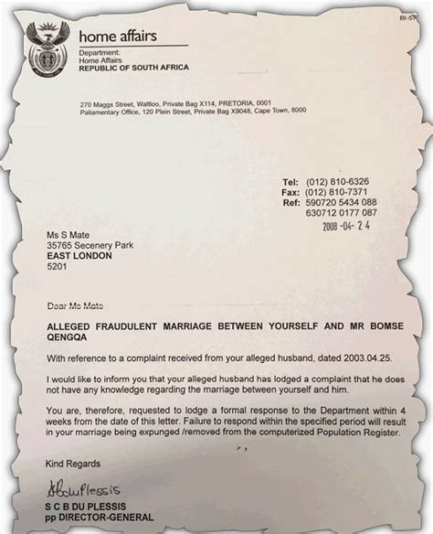 application letter in xhosa discovers he s married