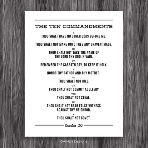The Ten Commandments Printable Poster