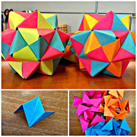 Day Origami Ideas - post it origami icosahedron different shapes to find