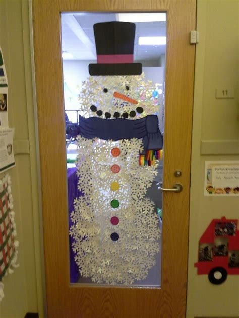 free classroom christams decoration ideas winter door decor would be so if i had a large glass section like that don t think it