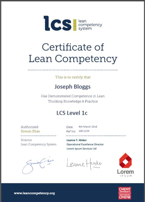competency certificate template about the lcs lean competency system