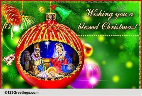 blessed christmas  nativity scene ecards greeting