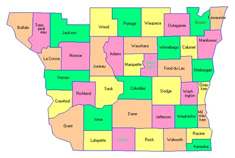 wisconsin counties map wisconsin county map images