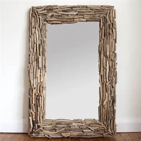 Large rectangular drift wood mirror