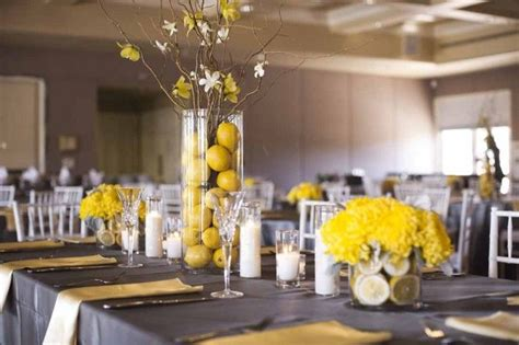 gray and yellow wedding decor lemon centerpieces a affair wedding design gettin