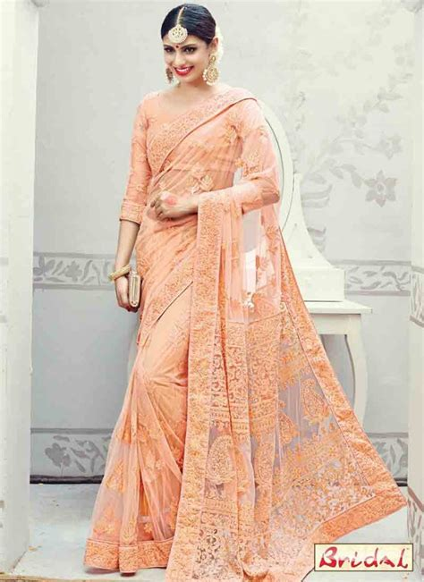 modern woodwork india november 2016 january 2017 net saree design for wedding in peach color fashioneven