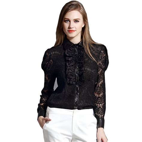 Keira Top Lace Blouse Hijaber aliexpress buy new autumn 2016 shirts blouse lace top hollow black