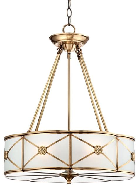Traditional Pendant Light Traditional Possini Mirna Frosted Glass 19 Quot Wide Brass Pendant Light Traditional Pendant