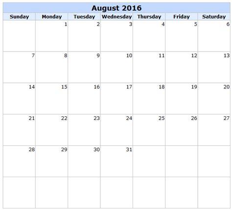 2016 Calendar August August Calendar 2016 With Holidays August 2016 Calendar