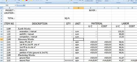 model construction cost estimate template excel format
