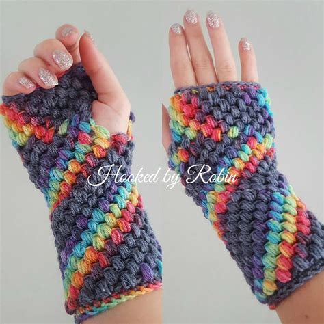 crochet gloves puff stitch fingerless gloves free crochet pattern