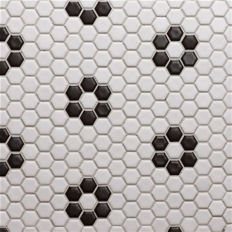 black and white hexagon bathroom floor tile glazed porcelain 1 quot hexagon mosaics white with black rose