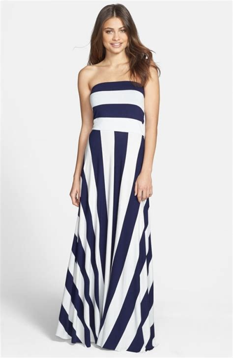 Maxy Stripe navy maxi dress dressed up