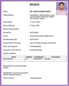Resume Sample Biodata by Biodata Cv