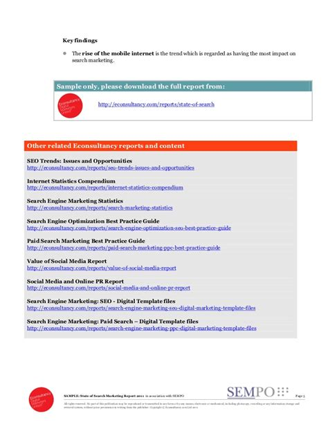 search engine marketing report template sle state of search marketing report 2011