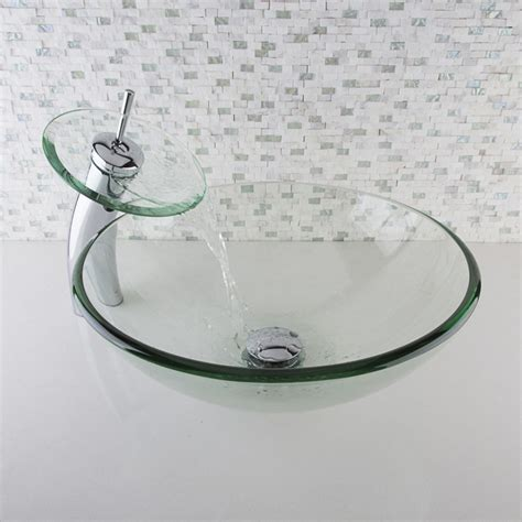 vessel sink and faucet sets crystalline glass vessel sink and waterfall faucet set