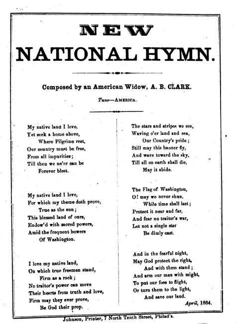 New national hymn. Composed by an American widow, A. B