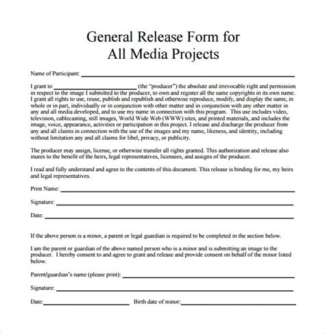 10 Sle General Release Forms To Download Sle Templates General Media Release Form Template