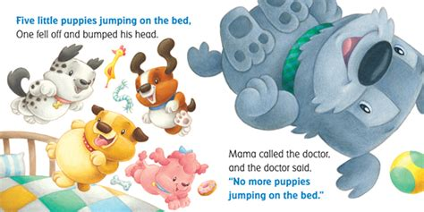 five little puppies jumping on the bed scholastic canada five little puppies jumping on the bed