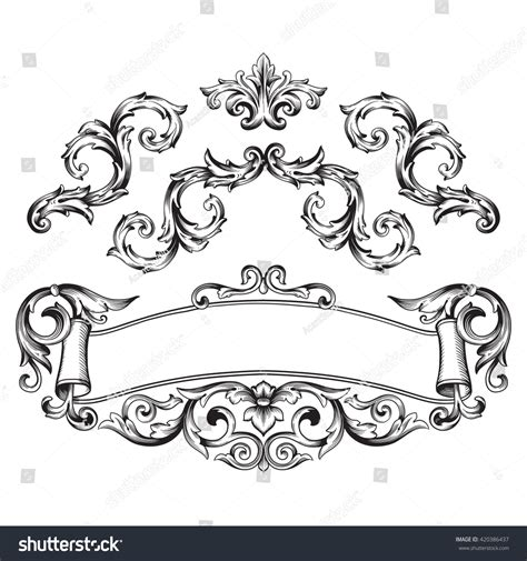 decorative baroque design elements vector illustration set vintage design elements baroque stock
