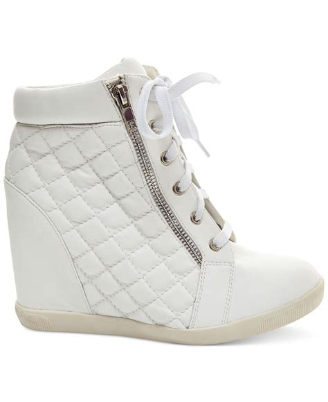 madden baaxter quilted high top wedge sneakers in