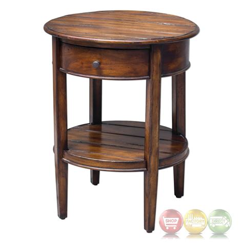 round accent table with drawer ranalt round deep grained mahogany accent table with