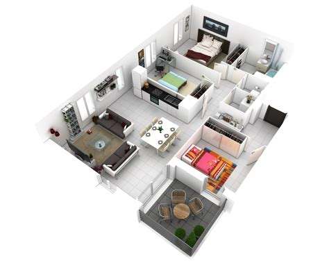 House Design Layout 3d by 25 More 3 Bedroom 3d Floor Plans