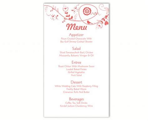 diy menu card template wedding menu card template driverlayer search engine