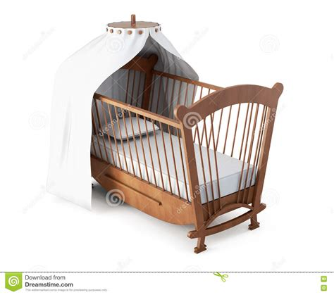 Z Crib by Crib With Canopy On White Background 3d Rendering Stock